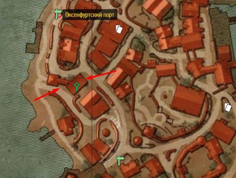 Дом Шани на карте Оксенфурта в Ведьмаке 3