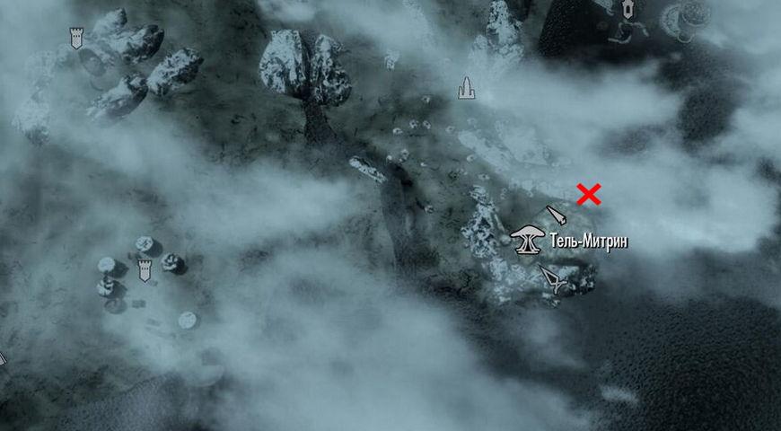 Местоположение кладбища на карте в квесте Старые друзья
